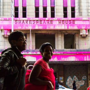 Painting the town pink … Beware of Colour, a guerrilla art project to highlight the number of dilapidated heritage buildings in Johannesburg, South Africa.