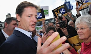 Nick Clegg speaks to no campaign supporters during a visit to Selkirk, Scotland