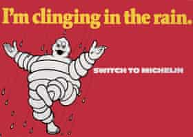 Michelin poster clinging in the rain