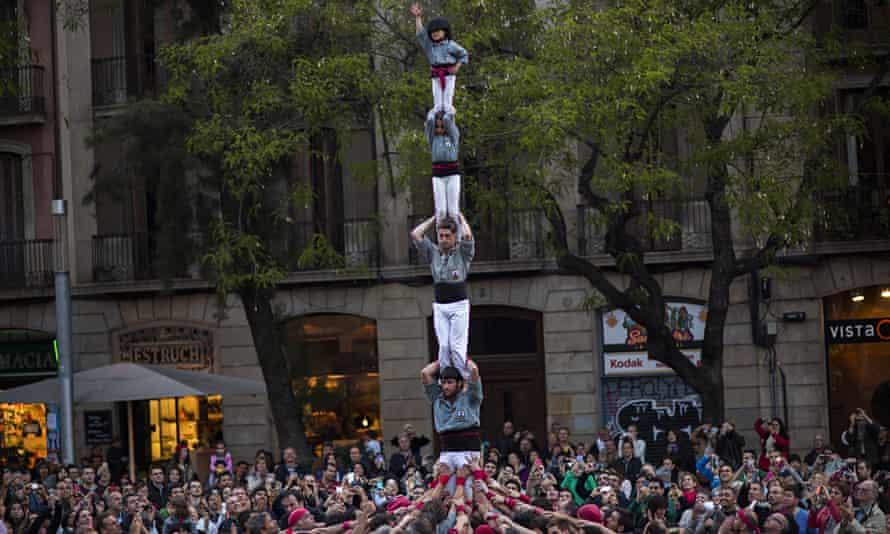 The Castellers de Sants group in Barcelona