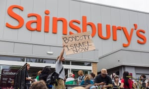 A protest against Israeli food products sold in Sainsbury's supermarket.