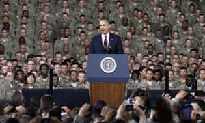 Barack Obama addresses troops in 2012.