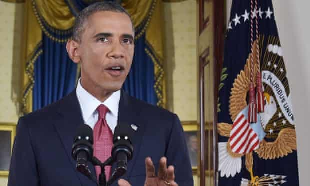 President Barack Obama delivers a primetime address from the Cross Hall of the White House.