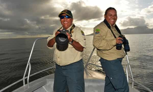 Girringun rangers Cindy-Lou Togo and Evelyn Ivey on patrol off the coast of Cardwell, Queensland