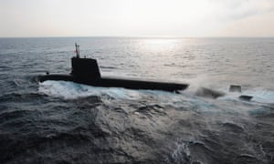 Japan's maritime self-defense forces diesel-electric Soryu submarine, which is believed to be favoured by Australia for its new fleet.