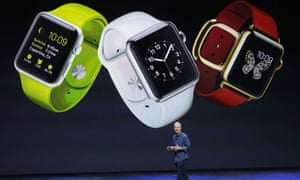 Apple CEO Tim Cook introduces the Apple smartwatch at the Flint Center in Cupertino, California.