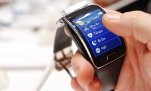 The Samsung Gear S smartwatch being showcased at the IFA consumer technology fair in Berlin.