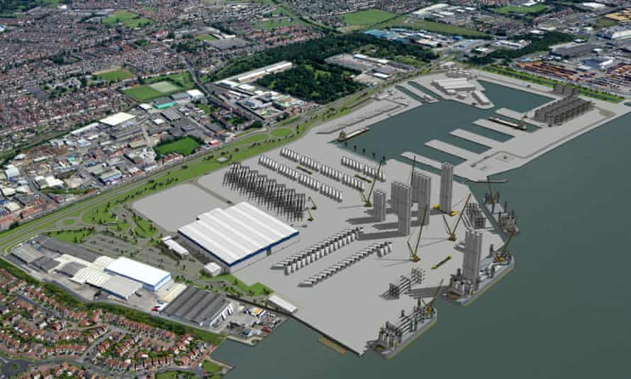 An artist's impression of the proposed offshore wind project construction assembly and service facility at Green Port Hull.