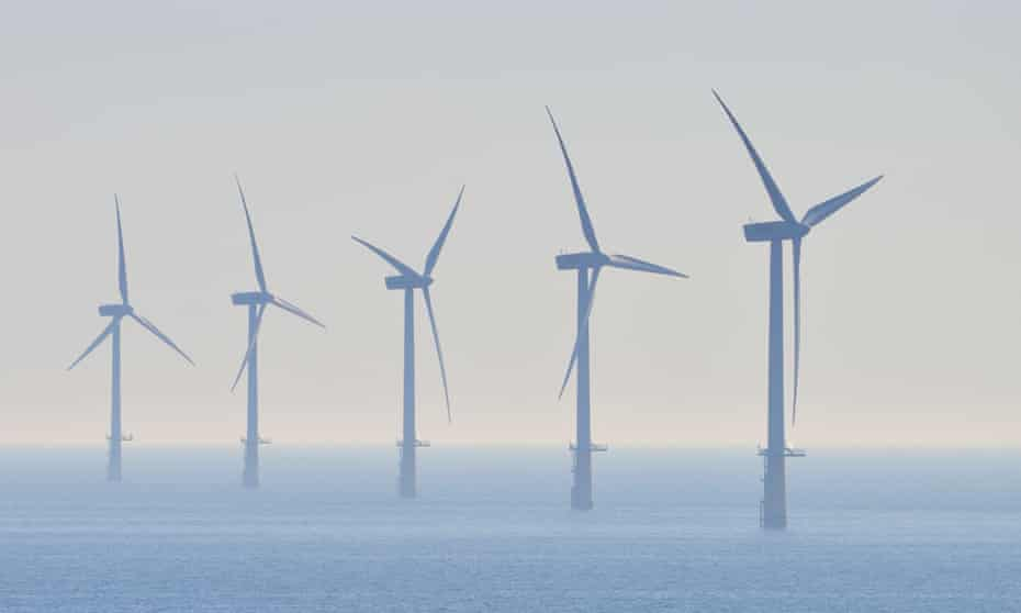 Offshore windmills in the North Sea.