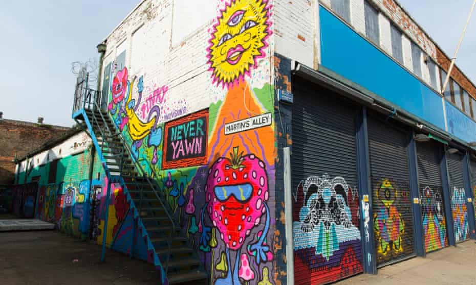 Humber Street in Hull, site of the former docks fruit markets and now transformed into a bohemian arts quarter.