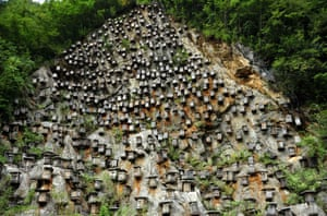 Hundreds of beehives hang from a mountain in Shennongjia nature reserve, Hubei province, China.