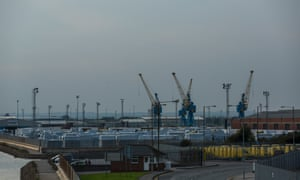 Containers and cranes in the Hull docks.
