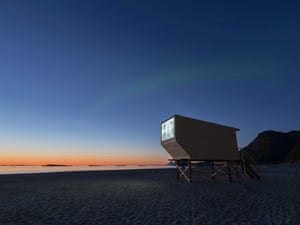 Artist Yang Fudong lived on the island while producing a film installation for SALT, which is projected onto screens on wooden boxes situated along the beach. The Northern Lights can be seen faintly in the background.