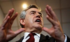 Gordon Brown makes a rousing speech at a rally in Kilmarnock.