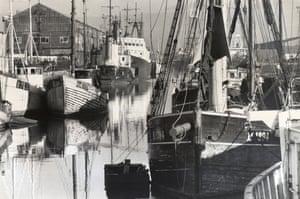 Trawlers moored at Hull fish docks.