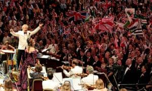 Jiri Belohlavek and soloist Renee Fleming perform 'Rule Britannia' at the last night of the Proms at the Royal Albert Hall on September 11, 2010.