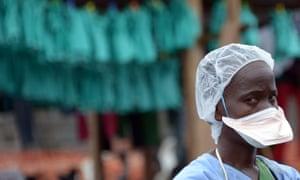 A health worker at the MSF-run Elwa hospital in Monrovia, Liberia.