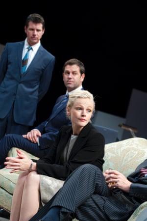 Lloyd Owen, Patrick Baladi and Maxine Peake as Laura in Loyalty at Hampstead Theatre.
