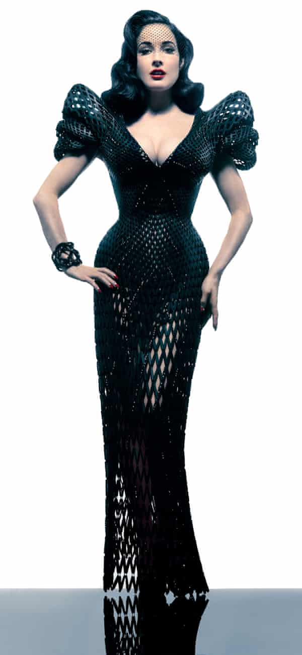 Dita Von Teese wearing the 3D dress created by architect Francis Bitonti and designer Michael Schmidt.