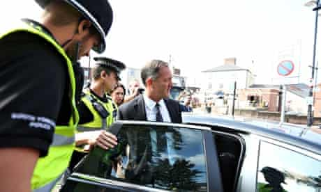Shaun Wright leaves the meeting at Rotherham town hall