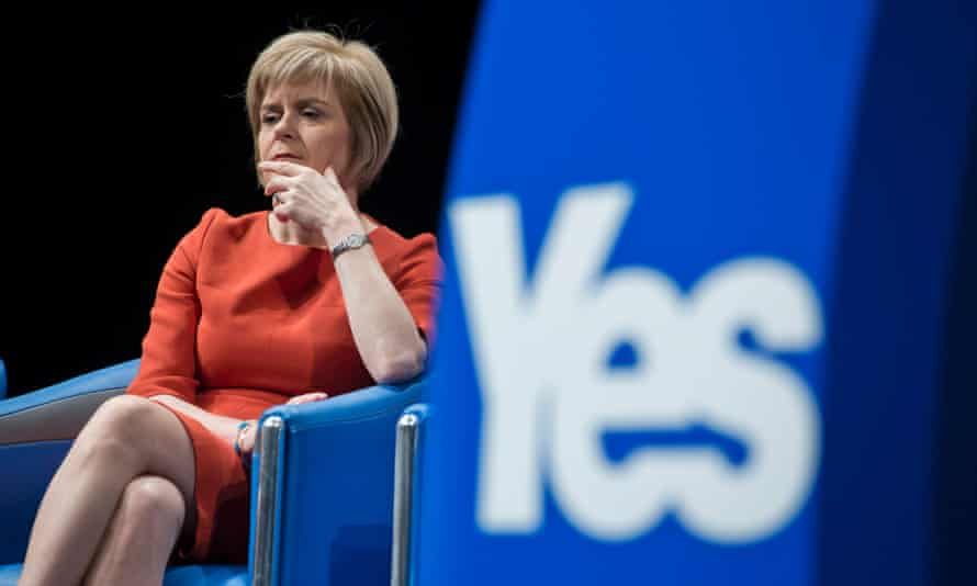 Scotland's Deputy First Minister Nicola Sturgeon MSP, listening to questions at a press conference