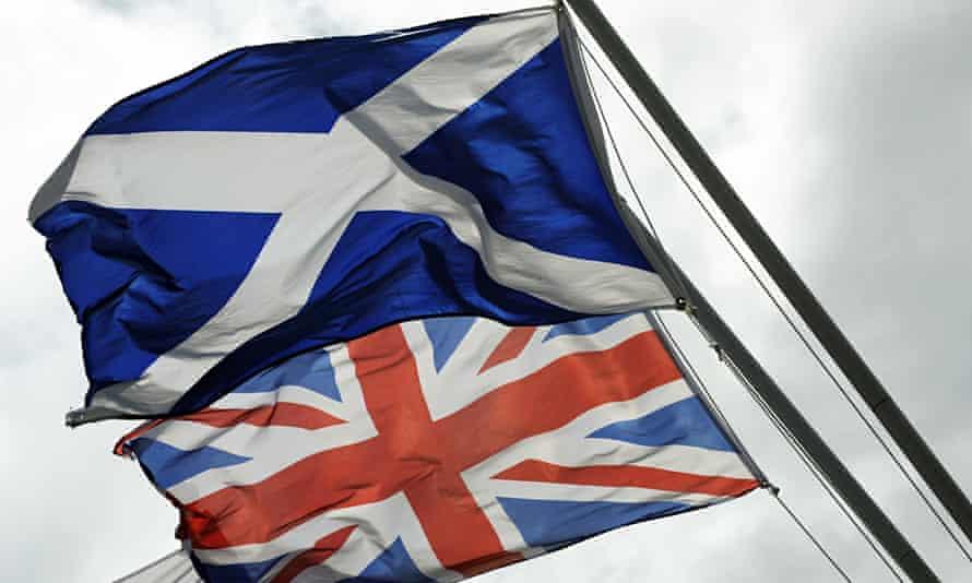 The Saltire, the flag of Scotland flies