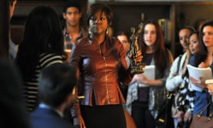 This image released by ABC shows Viola Davis, center, from the series, How to Get Away with Murder.