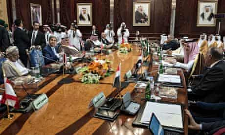 John Kerry attnded a meeting of Arab states to seek support for Obama's plan for air strikes against