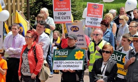 Welsh nationalists from Plaid Cymru demonstrate against cuts imposed by Westminster in 2011.
