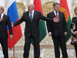 Russia's president Vladimir Putin, Belarusian president Alexander Lukashenko, Ukraine's president Petro Poroshenko, and high representative of the European Union for foreign affairs and security policy, Catherine Ashton in Minsk in August.