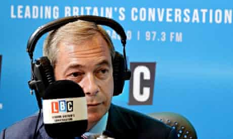 Nigel Farage on his LBC phone-in show