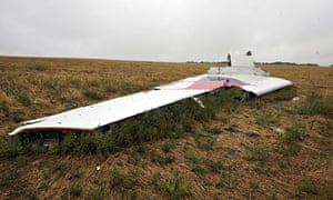 Part of flight MH17 at the crash site in the village of Grabovo.