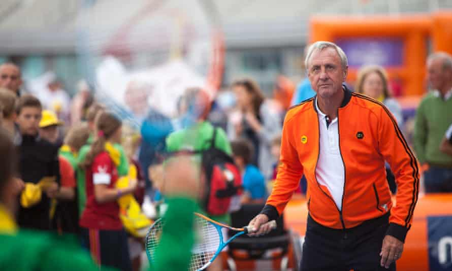 Johan Cruyff plays a game of tennis on the annual Open Day of the Johan Cruyff Foundation.