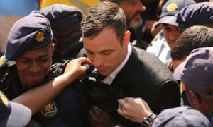 Oscar Pistorius leaves on bail from the North Gauteng high court after being convicted of culpable homicide.