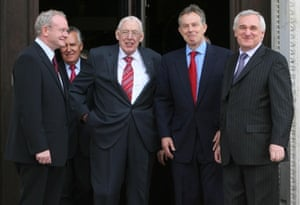 (L-R) Martin McGuinness, Dr Ian Paisley, Prime Minister Tony Blair and Taoiseach Bertie Ahern, in London, May 5th, 2007.