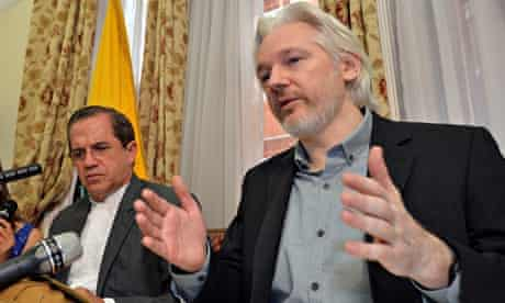 WikiLeaks founder Julian Assange and Ecuador's foreign minister Ricardo Patino at embassy in London