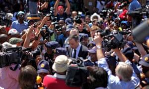 Oscar Pistorius leaves court