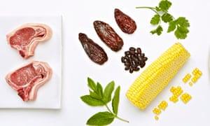 Thomasina Miers' smoky lamb chops with sweetcorn and black bean salad