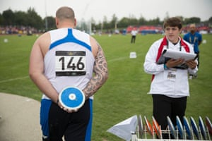 Thomas Brun of France waits to compete in the mens discus IF1 final.