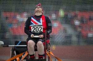 Emma Burns of GB takes a deep breath before throwing and winning the womens seated discus IF4 final.