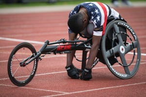 Roosevelt Anderson of USA composes himself before starting in the men's 200m wheel IT4 heats.