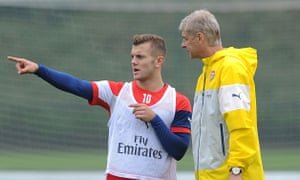 Wilshere and Wenger, Arsenal training session