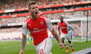 Arsenal's Jack Wilshere celebrates his goal against Man City at the Emirates