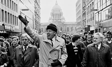 Ian Paisley at the head of a demonstration in Belfast in 1974