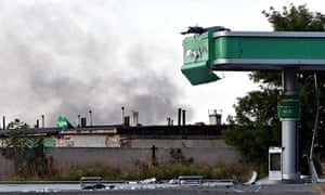 Smoke rises from Donetsk international airport