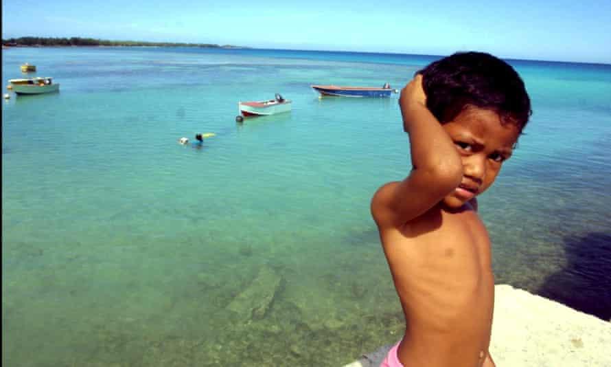 Boy in a Funafuti lagoon