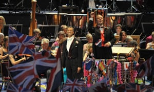Roderick Williams and conductor Sakari Oramo perform at the Last night of the Proms 2014