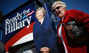 Hillary Clinton supporter and cutout