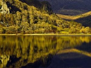 Reflections in Llyn Gwynant, Snowdonia.