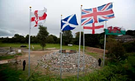 Scottish, English, Welsh and UK flag flying next to each other